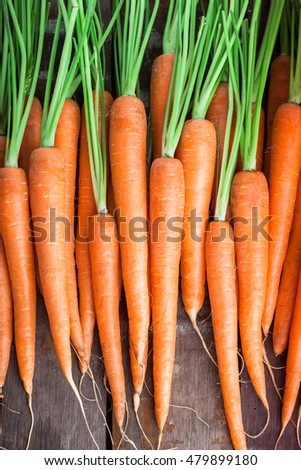 Carrot group lined up on old rustic brown wooden table