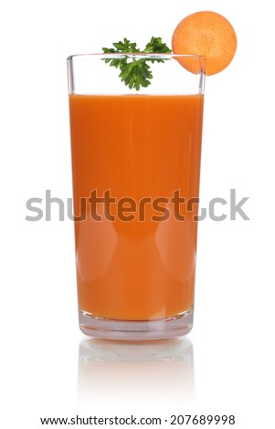 Carrot juice from fresh carrots, isolated on a white background