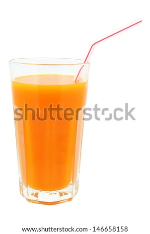 carrot juice on a white background