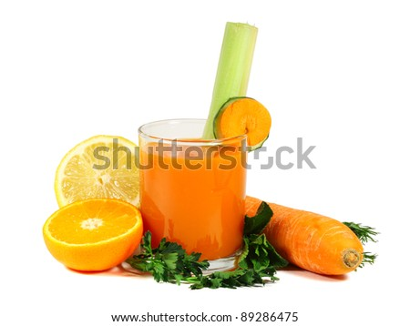 Carrot juice with fruits and vegetables isolated on white background - stock photo