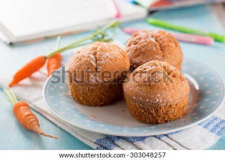 Carrot muffins for healthy kids lunch, selective focus