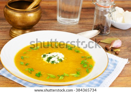 Carrot, Pumpkin Cream Soup Diet Food. Studio Photo