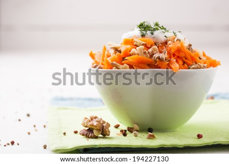 Carrot salad with raisins - stock photo