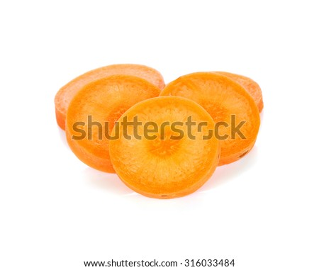 Carrot slice isolated on white background.
