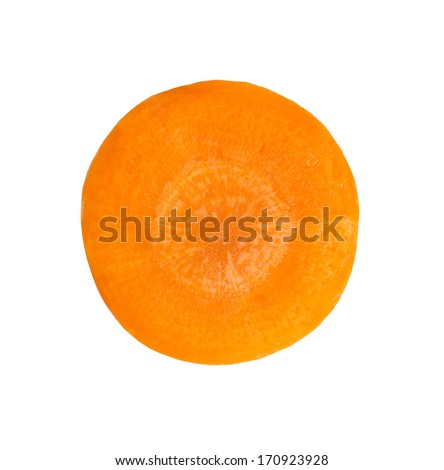 Carrot slice on white background - stock photo
