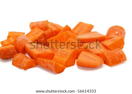 Carrot slices isolated on a white background - stock photo