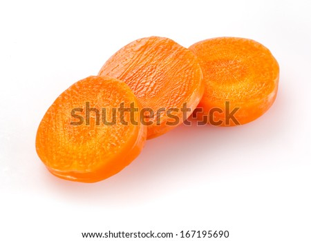 Carrot slices isolated on white - stock photo