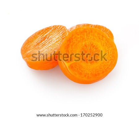 Carrot slices isolated on white background - stock photo