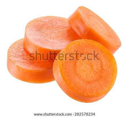 Carrot slices isolated on white. With clipping path. - stock photo