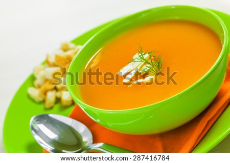 Carrot Soup with croutons  - stock photo