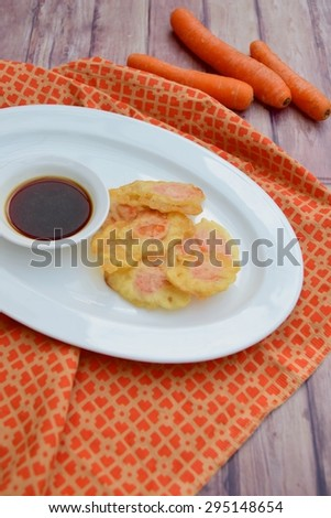 Carrot Tempura with Soy Sauce Dip - stock photo