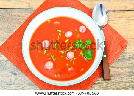 Carrot Tomato Soup in Plate. National Italian Cuisine. Studio Photo - stock photo