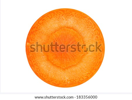 Carrot vegetable round slice isolated on white background - stock photo