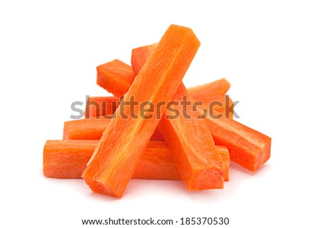 Carrot vegetable stick heap isolated on white background - stock photo