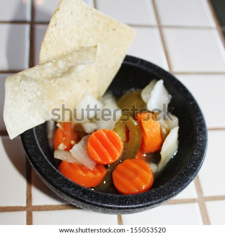 Carrots and peppers relish - stock photo
