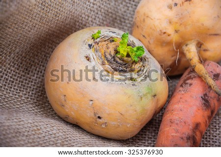 carrots and turnips on burlap