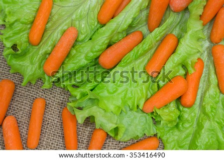 Carrots, green salad  on the sacking