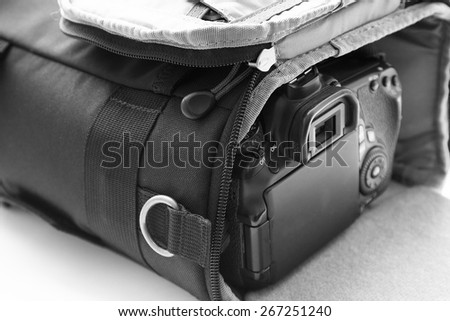 carrying case for the camera. Shallow DOF. Vintage style - stock photo