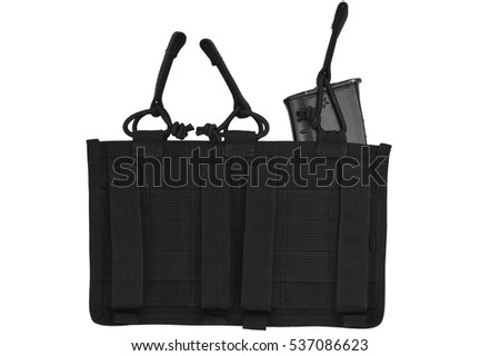 Carrying weapons case: military tactical cartridge pouch made from high-tech fabric with quick connection system, close up, isolated