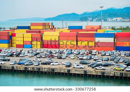 Cars and containers in Batumi industrial port. Republic of Georgia - stock photo