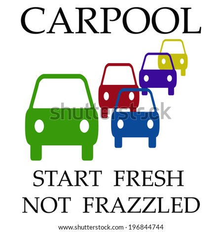 cars assorted on white background carpool poster illustration - stock photo