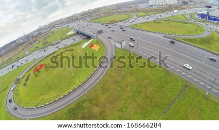 Cars at Schelkovskaya interchange MKAD in Moscow, Russia. View from unmanned quadrocopter - stock photo