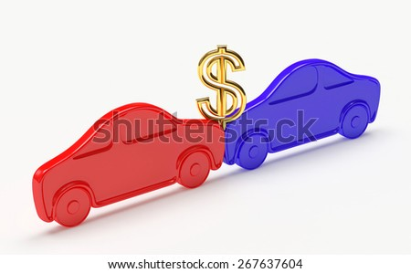 Cars collision concept. Red car crashed into another car isolated on a white background - stock photo
