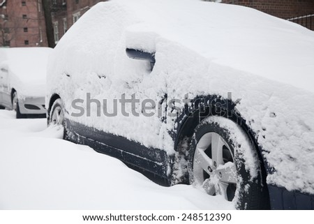 Cars Covered by Snow at winter in New York City. - stock photo