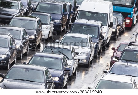 Cars cueing in city traffic in Hamburg, Germany - stock photo