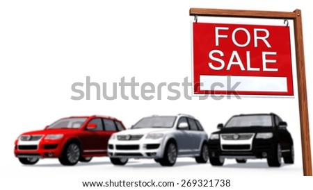 Cars for sale Sign in front of a car - sperated on white background - stock photo