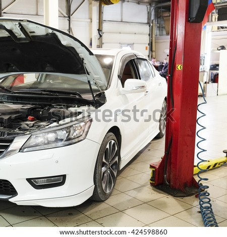Cars in a dealer repair station in Tula, Russia - stock photo
