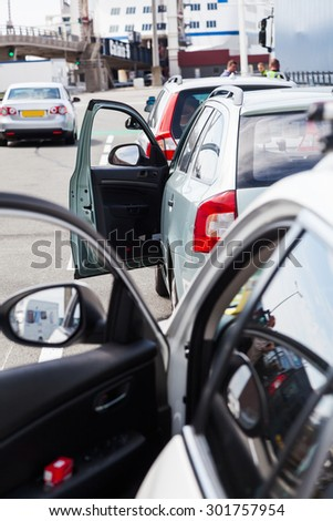 cars in a queue at the ferry port in Calais, France