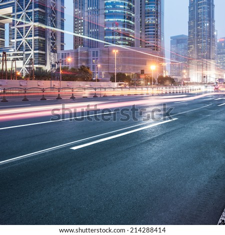 cars in highway with blur motion - stock photo