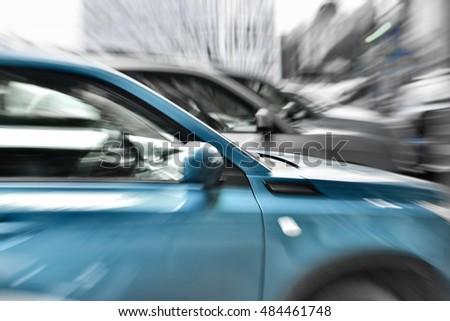 cars in motion, abstract composition.