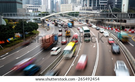 Cars In motion blur on road Hong Kong China