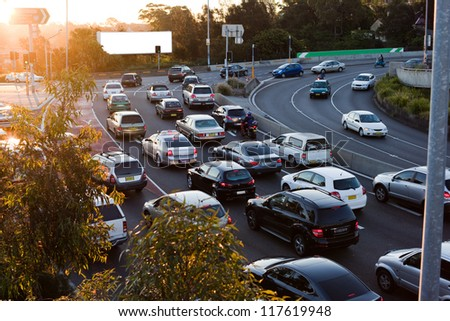 Cars in traffic - stock photo