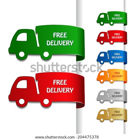 cars of free delivery, truck symbol - stock photo