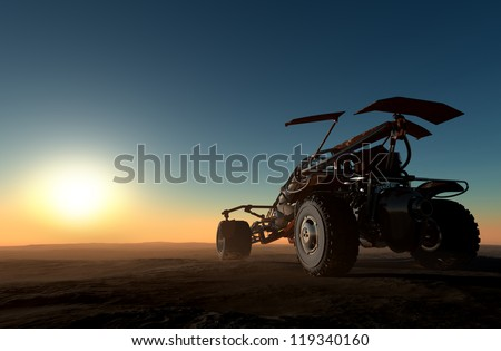 Cars of the future in the desert. - stock photo