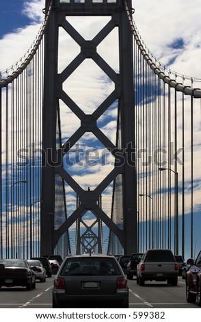 Cars on Bay Bridge, San Francisco, California - stock photo