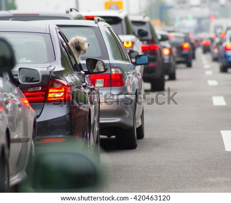 Cars on highway in traffic jam