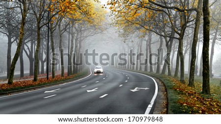 Cars on the road in the fog. Autumn landscape. - stock photo