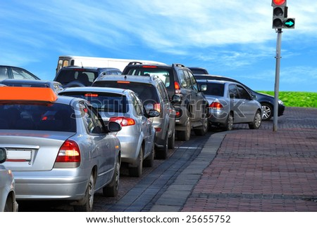 Cars on the road. Traffic jam - stock photo