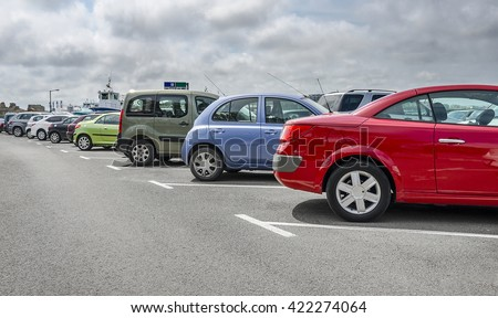 Cars parked in the parking lot. Close-up. - stock photo