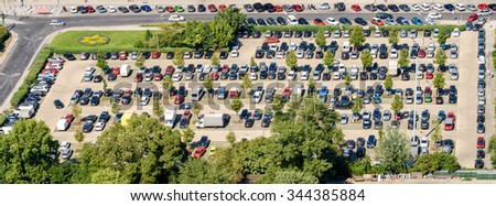 Cars Parking In Full Car Parking Lot - stock photo