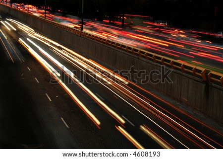 Cars passing by at Mexico City - stock photo