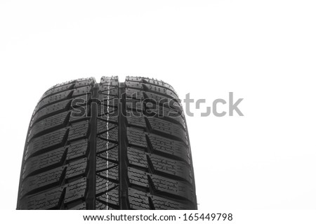 Cars tire isolated on white background - stock photo