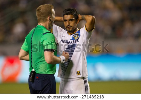 CARSON, CA. - APR 18: A.J. DeLAGarza during the L.A. Galaxy game against Sporting Kansas City on April 18, 2015 at the StubHub Center in Carson, California. - stock photo
