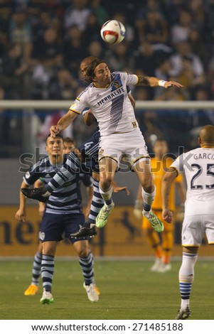 CARSON, CA. - APR 18: Alan Gordon in action during the L.A. Galaxy game against Sporting Kansas City on April 18, 2015 at the StubHub Center in Carson, California. - stock photo