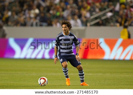 CARSON, CA. - APR 18: Benny Feilhaber in action during the L.A. Galaxy game against Sporting Kansas City on April 18, 2015 at the StubHub Center in Carson, California. - stock photo