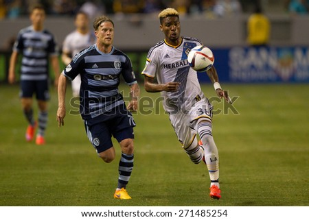 CARSON, CA. - APR 18: Bradford Jamieson & Marcel de Jong (L) in action during the L.A. Galaxy game against Sporting Kansas City on April 18, 2015 at the StubHub Center in Carson, California. - stock photo